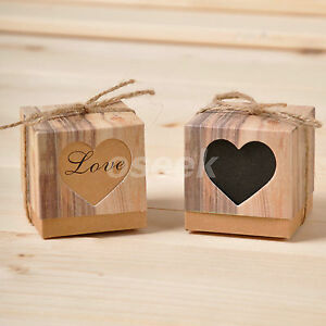 50 - 100pcs Wedding Love Heart Rustic Kraft Candy Boxes Hemp Rope Gift Favor