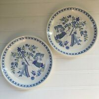 Norway Lotte Figgjo Flint Turi Design Lot of 2 Bread & Butter Plates Blue Stamp