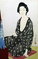 """Woman in a Summer Kimono"" by Hashiguchi Goyo. Canvas Oriental.  11x17 Print"