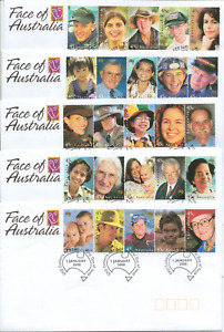 AUSTRALIA - 5x Beautiful FIRST DAY COVERS - FACES of AUSTRALIA