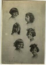 PHOTO ANCIENNE - VINTAGE SNAPSHOT - PHOTOMONTAGE ENFANT PORTRAIT COIFFURE -CHILD