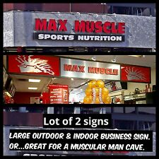 2 Commercial Signs. ⭐️Sports Nutrition⭐️Max Muscle. Gym Or Man Cave Store Sign