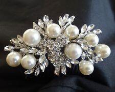 Wedding Bridal Vintage Pearl Rhinestones Crystal Silver Hair Comb Headpiece NEW