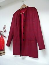"Ladies Fab M&S Red Mix Check Thigh Length Smart Wool Mix Jacket, 8, Pit 19"" Vvgc"