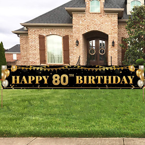 Large Happy 80th Birthday Decoration Banner, Black and Gold Happy 80th Birthday