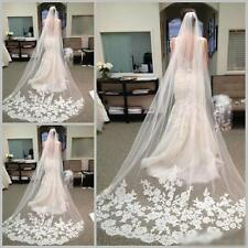 Graceful White Ivory 1T Cathedral Edge Lace Bridal Wedding Veil With Comb Zsell