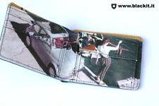 Portafoglio da uomo Fiat 500 classica, colore celeste chiusura a clip