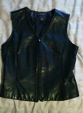Women's DANIER Leather Black ZIP - Up VEST  Size SMALL VGC