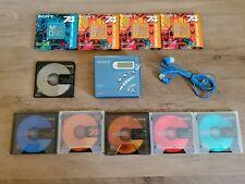 Sony Md Recording Walkman Portable Minidisc Recorder Mz-R500 w/10 Discs some new