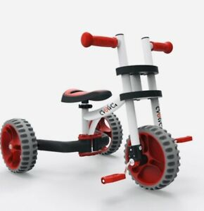 YBIKE Evolve Balance Trike Kids Scoot Ride Children Tricycle Toy White/RED NEW