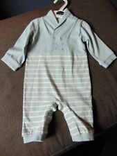 M&S Autograph 100%Cotton All-In-One Collared Suit 0-3m 62cm Lt.Blue Mix BNWT