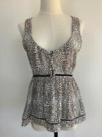 Tigerlily Women's Black/White Animal Print Spotted Viscose Top 8 A13