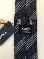 New Drake's London Tie Sold Out Denim Blue Textured Silk Hand Rolled England
