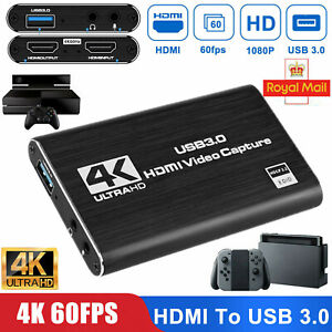 4K HDMI To USB 3.0 Audio Video Capture Card 1080P 60FPS For Game Live Streaming