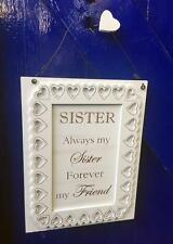 Sister Gift Wall Plaque with sentiments and heart and Lace Design F1508-GD