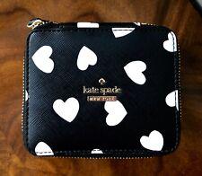 NWT Kate Spade Cameron Street Hearts Black White OLLIE Jewelry Box Travel Case