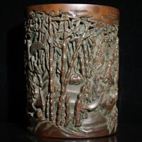 Exquisite hand carved pine trees landscape statue natural bamboo Pen Brush pot