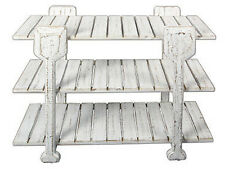 """Nautical Coastal Beach Cottage Rustic 3 Tier Distressed White Wood Oar Table 32"""""""
