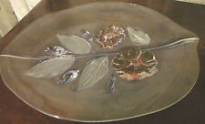 WALTHER GLASS MIKASA CRYSTAL FROSTED CALYPSO CANAPE HIBISCUS LEAF SHAPE PLATTER