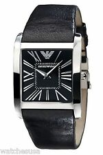 Emporio Armani Men's Slim Black Leather Strap Watch AR2006