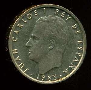 SPAIN COIN 100 PESETAS 1983 ALUMINIUM - BRONZE KM# 826 SCARCE HIGH GRADE