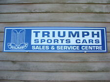 NEW! '50's-60's STYLE TRIUMPH AUTO 1'X46'' METAL SIGN/AD w/EARLY LOGO/GARAGE ART