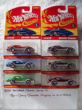 2004 Hot Wheel Classics Series 1 17/25 Chevy Corvette Stingray Set in 6 Colors