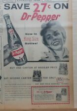 Large 1956 newspaper ad for Dr. Pepper Soda - Save 27 cents on King Size bottles