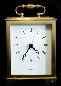 Vintage 70s solid brass German made carriage clock in working order