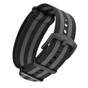 NATO Armband Schwarz Grau mit schwarzer Dornenschließe   22mm für Armbanduhr