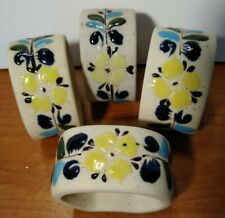 Tonala Mexico Ceramic Napkin Rings Yellow Floral Hand Painted Signed