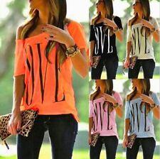 Fashion Women LOVE Print Loose T-shirt Top Short Sleeve Shirt Casual Blouse