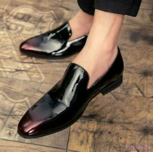 Men Patent Leather Business Stylish Slip On Loafer Dress Formal Pointy Toe Shoes