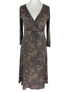 White Stuff Faux Wrap Brown Cashmere Mix Woodland Fox Dress UK Size 12. EXC CON