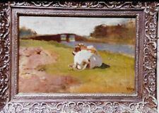 "VINTAGE OIL ON CANVES PAINTING ""Cow in Lowland Pasture 1870 Anton Mauve,"