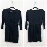 Soma Medium Womens Solid Black Quarter Sleeve Dress