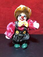 "Vintage 5 1/2"" miniature Clown with Porcelain Head Hands & Feet stuffed body"
