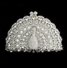 Silver Clear Peacock Rhinestone Crystal Clutch Bridal Prom Formal Purse