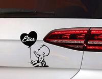Baby on Board Auto Aufkleber junge mit Herz Luftballon Sticker mit Wunschname
