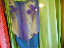 lot=2rideaux voilage  bleus ,et fleurs bleues,  pompons