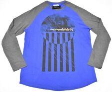 $39 NWT Mens Sean John T-Shirt Raglan Scallop Graphic Tee Blue Grey Size XL N622