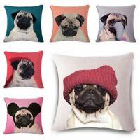 "Cotton Linen Waist Cushion Pillow Case Cover Home Car Sofa Bed Decor Pug Dog 18"""