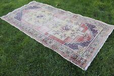 """Vintage Handmade Turkish Oushak Wool Anatolia Red Area Rug 103""""x48"""""""