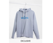 QUIKSILVER Boxy Fleeced Hoodie in Washed Blue - SIZE M