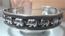 NEW -.925 Sterling Silver Elephants Wide Cuff Bracelet - Free Shipping !