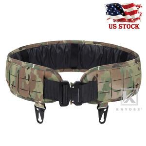KRYDEX Laser Cut MOLLE Belt Padded Battle Belt Quick Release Buckle Multicam