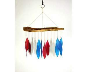 "Wind Chime Handcrafted Glass with ""Found"" Wood (Red, White, Blue Glass)"
