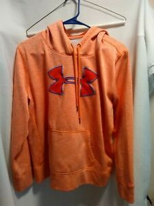 Under Armour orange hooded pullover sweatshirt size large