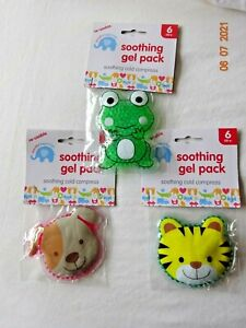Re-Usable Soothing Gel Pack Cold Compress Puppy Tiger Frog Kids Ice 6+ Months