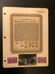 """Rare Sheet """" IN CONGRESS"""" Manuscript Paper,Photo and 1937 Stamp  USA Set of (2)"""
